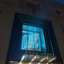 Providence Public Library RGB Programmable Sign shown in Blue