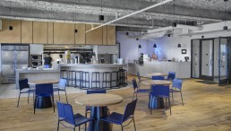 Orion was brought in to produce custom millwork, stone and seating for a new WeWork location in Boston