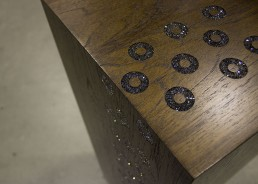 Custom teak pedestals embellished with Crystals from Swarovski