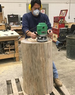 Oak Log being hand-routed