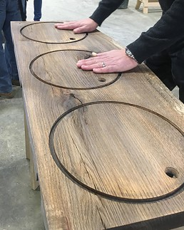 Oak slab routed to hold vitrine